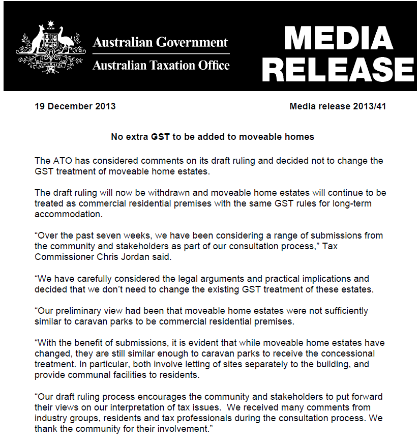 GST ATO withdraws